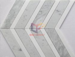 Bianco Carrara en marbre avec marbre blanc Crytal V pour les murs de la mosaïque de forme (CFS1201)
