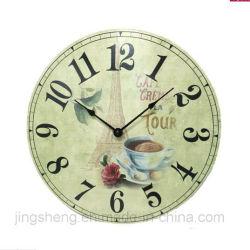 Relógio de parede de madeira de 30 cm e impressão de relógio de parede