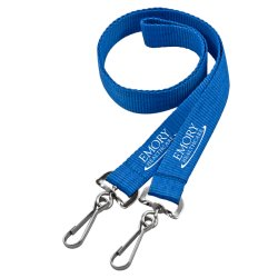 Sagola con la doppia clip conclusa del metallo, sagola del collo, sagola di Keychain, sagola del supporto di distintivo, sagola promozionale del poliestere del supporto di scheda di identificazione del regalo