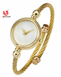 Womens Fashion Silver Gold Quartz analogique de tonalité Bangle Cuff Bracelet élégant simple bande de fils en acier inoxydable Watch #V404