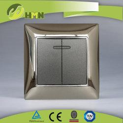 CE/TUV/BV Certified UE liga de zinco metálico padrão do interruptor de parede com LED