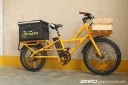 정면과 후방 바구니를 가진 뚱뚱한 타이어 화물 전기 자전거