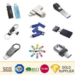 Fabricante barato Mini Flash Drive Pen Drive Memoria Flash de Cable Cartoon Tarjeta de Crédito Stick de madera clave giratorio de plástico de PVC Cuero Metal disco micro USB para regalos