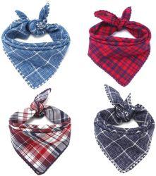 Classic Scottish Plaid Design Länge verstellbar durch Binden Knüpfen 100% Leinen Baumwolltuch Hund Bandana