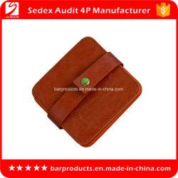 La Chine en cuir personnalisé de gros prix d'usine ronde Coaster comme cadeau de promotion