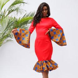 아프리카 Kitenge 디자인 아프리카 인쇄 복장 형식 쪼개지는 여자 칵테일 Prom 복장