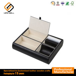Samt-Schmucksache-Kasten-Tellersegment-Leder-Schreibtisch oder Abziehvorrichtung-Organisator