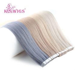 Band in Hair Extension Black Brown Real Human Hair Extension Gerade 20inch 20pcs