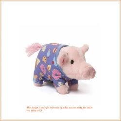 ワイシャツの美しいプラシ天の動物のおもちゃのプラシ天のピンクのブタは卸し売りする