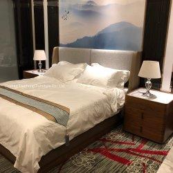 Neue moderner Entwurfs-Feiertags-Rücksortierung-chinesische Luxushotel-Schlafzimmer-Möbel-Furnierholz-Walnuss-kundenspezifischer Hotel-Lieferant