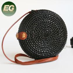 Bolsa de paja natural de la mano de la playa Redondo hombro bolsas de la eslinga de bambú de la bolsa de ratán para niñas T124