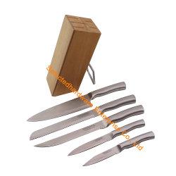 6PCS Mes van de Keuken van het Handvat van het Blok van het mes het Vastgestelde Holle