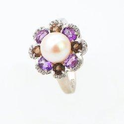 Novo Anel de moda Joalharia Anéis Gemstone Multicor Água Fresca Pearl Jóias Designs para Mulheres