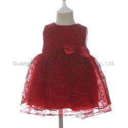 女の子の花の刺繍の網のDresses小さい赤ん坊のための袖なしの冬党王女