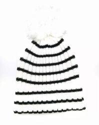 سيّدة شتاء نمط دافئ يحبك شريط قبعة غطاء مع تمويه فروة [بومبوم]