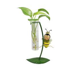 Décoration de table en métal animé Bee Bouteille de verre Pot de fleur de semoir