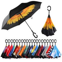 Différentes couleurs facile transporter inversé parapluie double couche de marche arrière