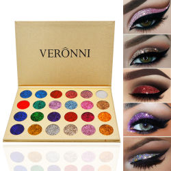 Venta caliente Veronni 24colores Glitter la sombra de ojos Eyeshadow Palette en polvo de pigmento