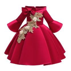 Vestido da menina com luva intermediária The-Shoulder Menina de flores de casamento vestidos bordados