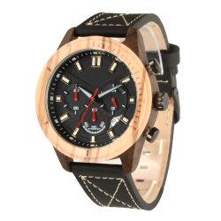 Les hommes's Watch de Luxe en bois de quartz étanche chronographe Montres