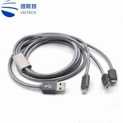 كبل شحن متعدد، كبل USB متعدد مجدول من النايلون، محول سلك شحن عالمي 3 في 1 مع موصلات منفذ USB من النوع C، لتوصيل الهواتف المحمولة بمنفذ USB ميكرو
