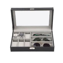 黒6の哨舎の宝石類の箱ガラスの表示オルガナイザー、3つのスロットサングラスの箱