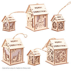 クリスマスのギフトLEDの軽い木製家のクリスマスツリーのハングの装飾の装飾