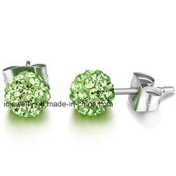 En acier inoxydable de bijoux de corps de Crystal Ball Stud Earrings