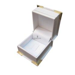 Clip per gioielli in carta bianca in similpelle con angoli in plastica e oro personalizzati Confezione regalo per l'uso con anello di tenuta