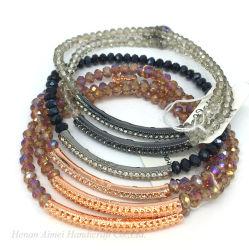 Moda grossista bracelete encantador Vidro cristal cordão multifacetada Bangle