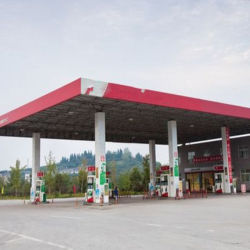鉄骨フレームの構造の屋根ふきの給油所の使用されたおおい