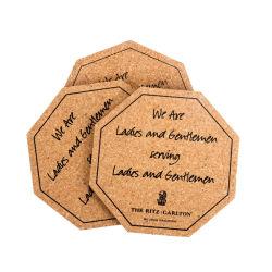 Commerce de gros bois d'impression vierge Liège octogonale Coaster avec logo personnalisé