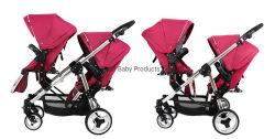 Piegare passeggiatore in tandem del doppio passeggiatore infantile gemellare del bambino il doppio