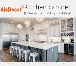 Armadio da cucina di legno moderno dell'agitatore del legname solido bianco e grigio di stile