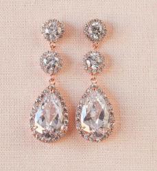 Bodas de oro rosa CZ joyas collar arete, Bridal CZ Joyas, Bridesmaid Pendientes Pendientes