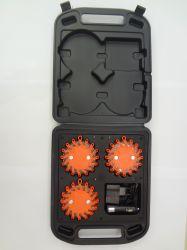 3 LED de aviso de segurança rodoviária Flares caso, à prova de luz de emergência recarregável na estrada, Magnético de Alerta Intermitente Giratória de Estrada