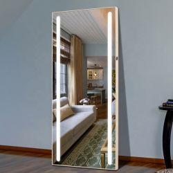 [فولّ-لنغث] يرتدي بنية حمام غرزة [لد] ساعة مرآة مع أضواء