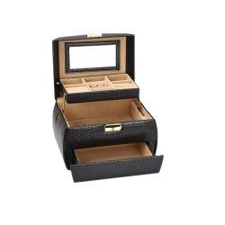 صندوق مجوهرات خشبى أسود كبير مع طبقتين