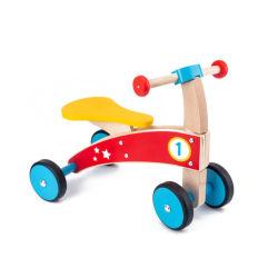 4륜 목재 푸시 밸런스 바이크 장난감 어린이 1 세월이 지난 교육 학습 워커, 아이들을 위한 자전거 타기 보이즈 걸스(남아용) 유아용 푸시 풀 스쿠터