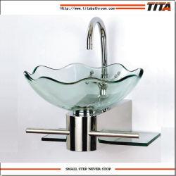 Cuarto de baño de cristal de la cuenca de vidrio/Lavabo lavabos de porcelana/cristal templado transparente Lavabos para baños (TB052)