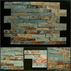 Impiallacciatura arrugginita della pietra della pila dell'ardesia/Ledgestone/mattonelle coltivate della parete di pietra