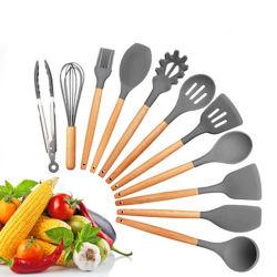 Silikon-KücheTool-Set, der Suppe-Löffel-Set und Kombination des Tafelgeschirr-11PCS mit hölzernem Griff kocht