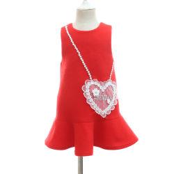 Девочка придает поддельные сумки без рукавов Applique шерстяные платья для Cute Baby оптовая торговля