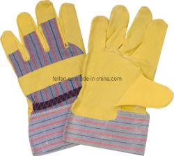 Doppelte Palmen-Handschuhe mit natürlichen Rindleder-aufgeteiltes Leder-Arbeits-Handschuhen