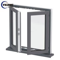 Custom de vinilo blanco gris de PVC doble acristalamiento de UPVC ventana con vidrio de Baja E