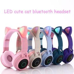 Katze-Ohr-Stirnband-Geräusche, die Gamer Spiel-Kopfhörer-Kopfhörer-Kopfhörer-kleiner blauer Zahn-drahtlosen Kopfhörer mit HD Mikrofon beenden