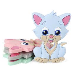 Gatinho Bebê Mordedor Silicone Cadeia dentição bricolage bebê mastigar animal sem BPA roedor Cat Pendan Lactente Toy
