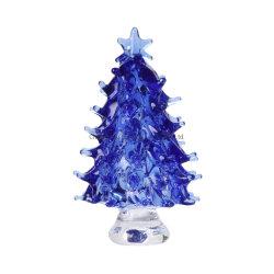 Recuerdo de cristal azul claro del árbol de Navidad Regalo con cuatro colores