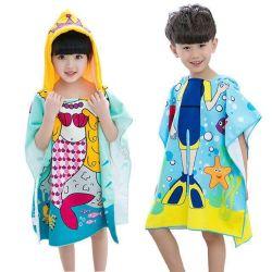 Stock de la promotion de la mode de nettoyage en microfibre 100% Polyester Poncho et le phoque à capuchon imprimé Baby Gift Terry Serviette de bain et serviette de plage de couvertures Couvertures pour les enfants