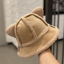 패션 퓨어 컬러 양고기 양모 고양이 귀 피셔맨 모자